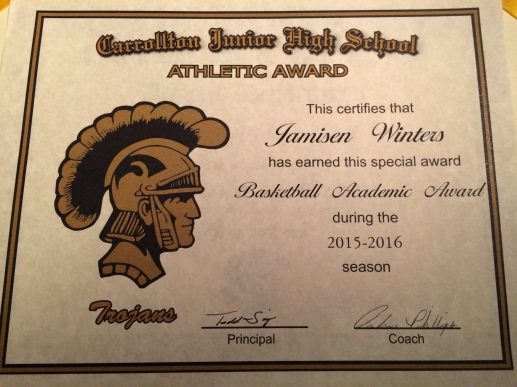 Jamisen's Academic Award